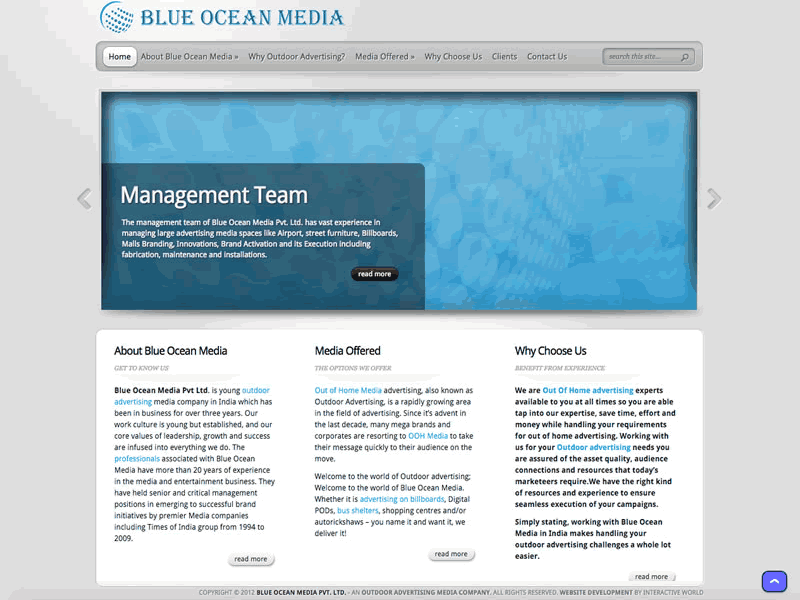 Blue Ocean Media B2B Outdoor Advertising Website Design