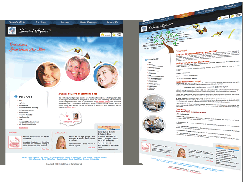 Dental Stylers Gurgaon Medical Website Design