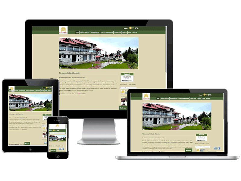 Koti Resorts Hotel Website Design, Online Marketing