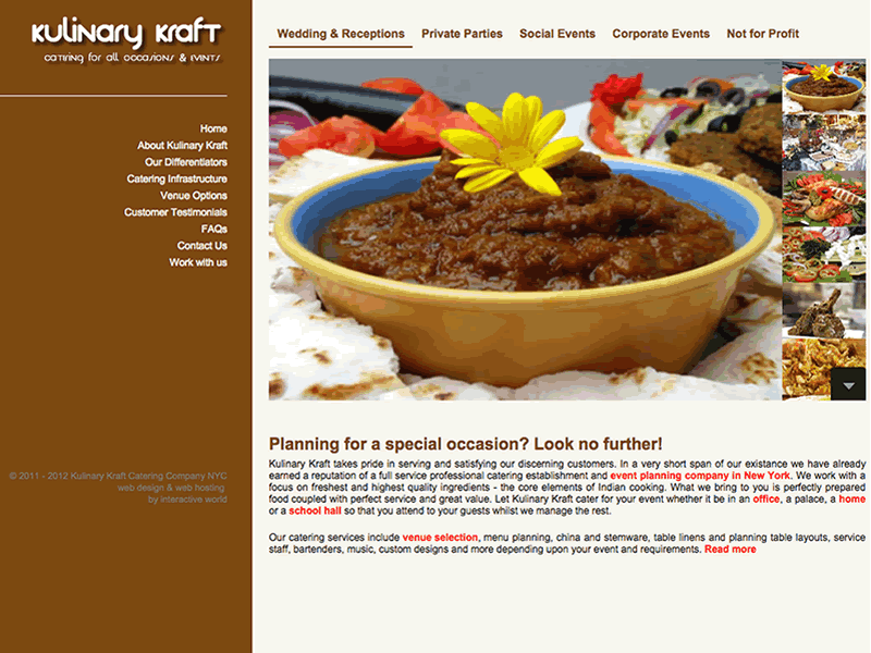 Kulinary Kraft New York Website Design