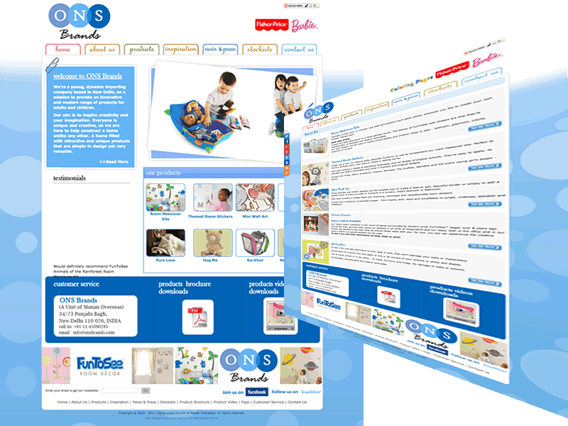 ONS Brands Kids Products Website Design