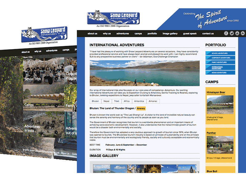 Snow Leopard Adventures Travel Website Design