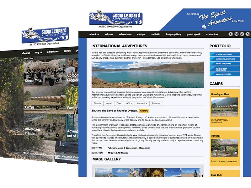 Snow Leopard Adventures Gurgaon | Adventure Travel Website Design