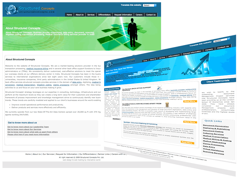 Structured Concepts Outsourcing Company Website Design