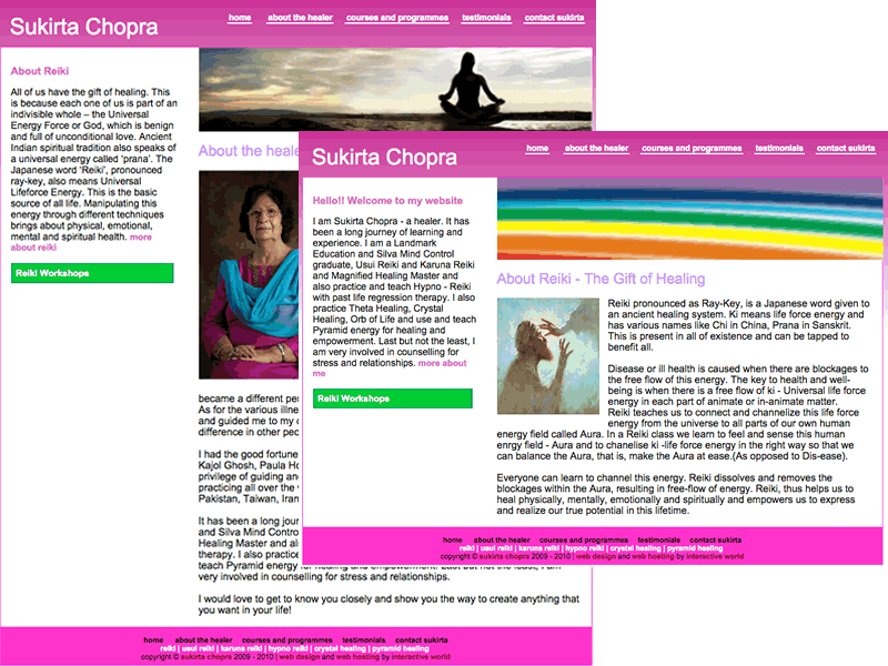 Sukirta Chopra Reiki Master Gurgaon Website Design